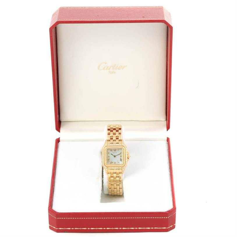 12750 Cartier Panthere Yellow Gold Mother of Pearl Diamond Watch W25022B9 SwissWatchExpo