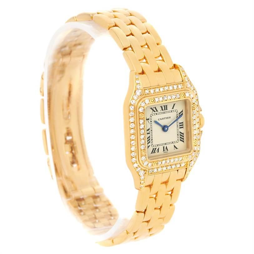 12983 Cartier Panthere Ladies 18k Yellow Gold Diamond Quartz Watch WF3072B9 SwissWatchExpo