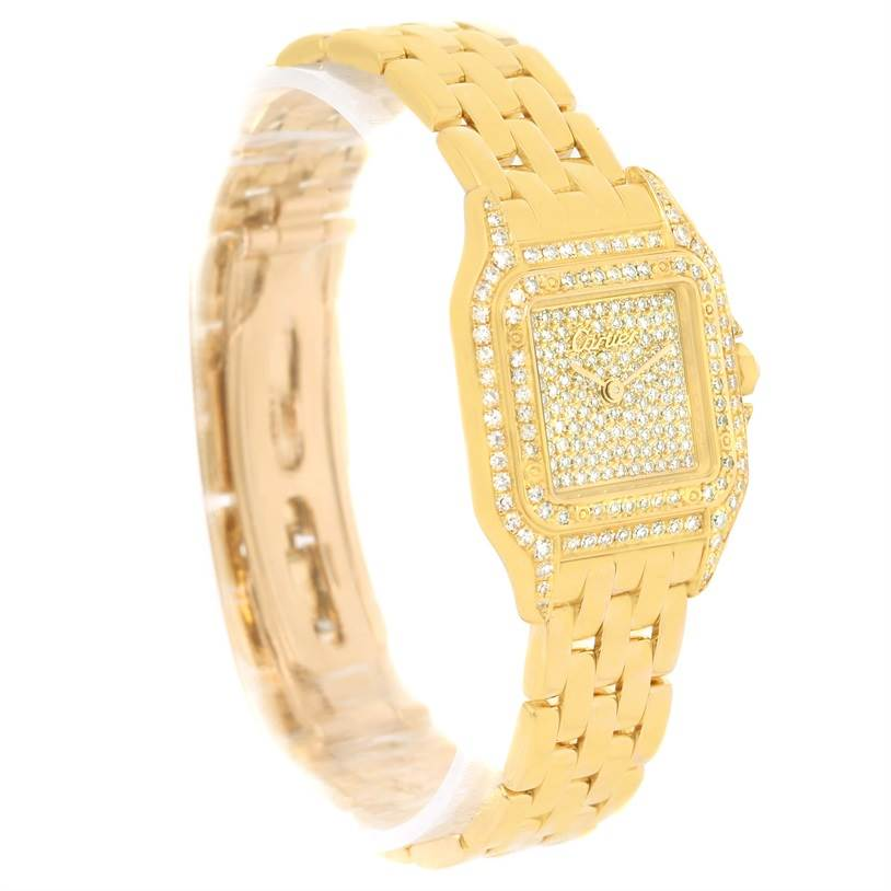 13014 Cartier Panthere Ladies 18k Yellow Gold Pave Diamond Watch SwissWatchExpo