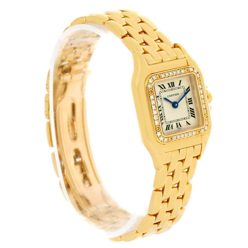 Cartier Panthere Ladies 18k Yellow Gold Diamond Watch WF3070B9 SwissWatchExpo