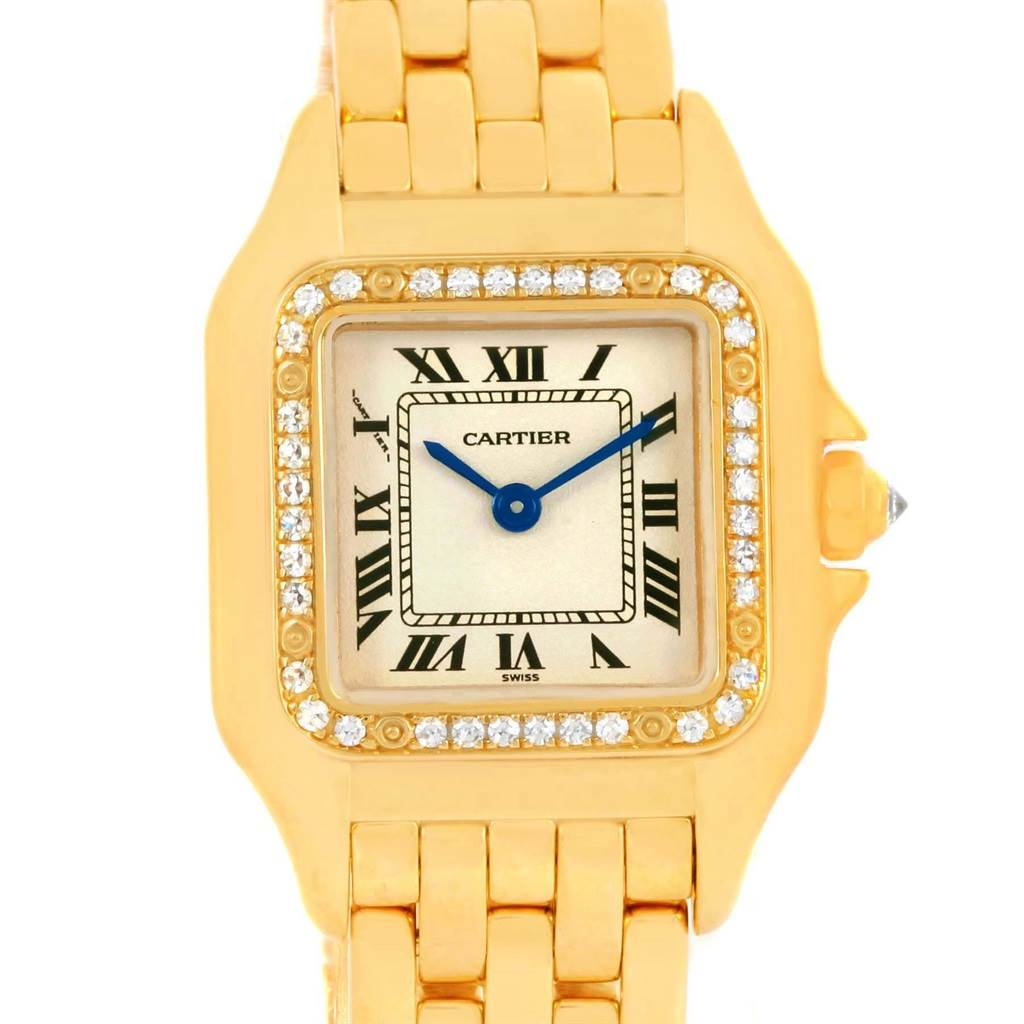 14390 Cartier Panthere Ladies 18k Yellow Gold Diamond Watch WF3070B9 SwissWatchExpo