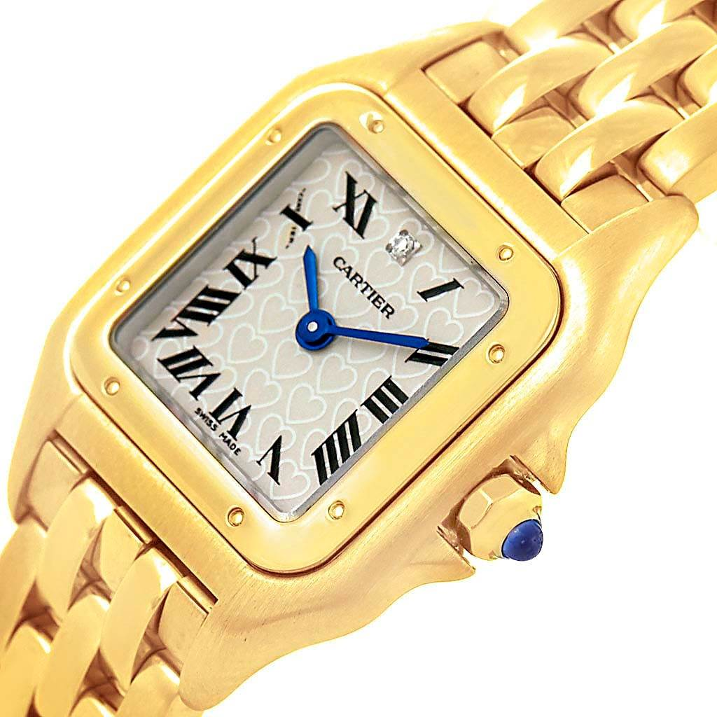 15104 Cartier Panthere Heart Dial Yellow Gold Diamond Ladies LE Watch W25022B9 SwissWatchExpo