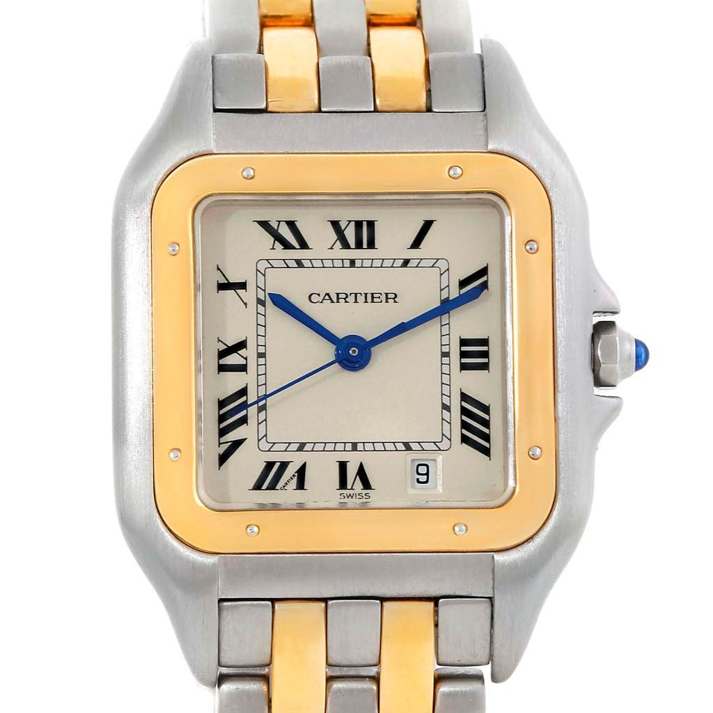 118STX Cartier Panthere Large Steel 18K Yellow Gold 2 Row Watch W25028B8 SwissWatchExpo