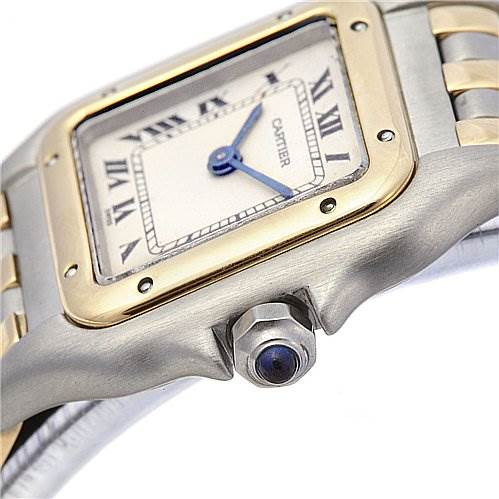 2065 Cartier Panthere Ladies Ss & 18k Yellow Gold Three Row Watch SwissWatchExpo