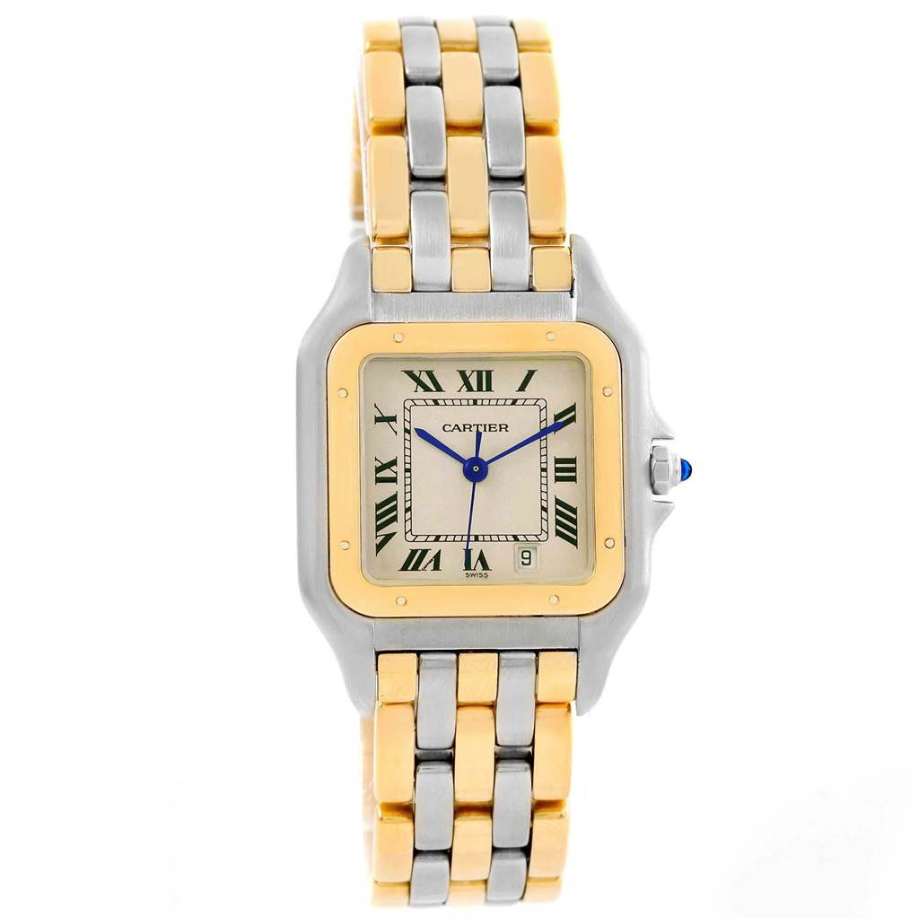 20895 Cartier Panthere Large Steel 18K Yellow Gold Three Row Watch W25028B6 SwissWatchExpo