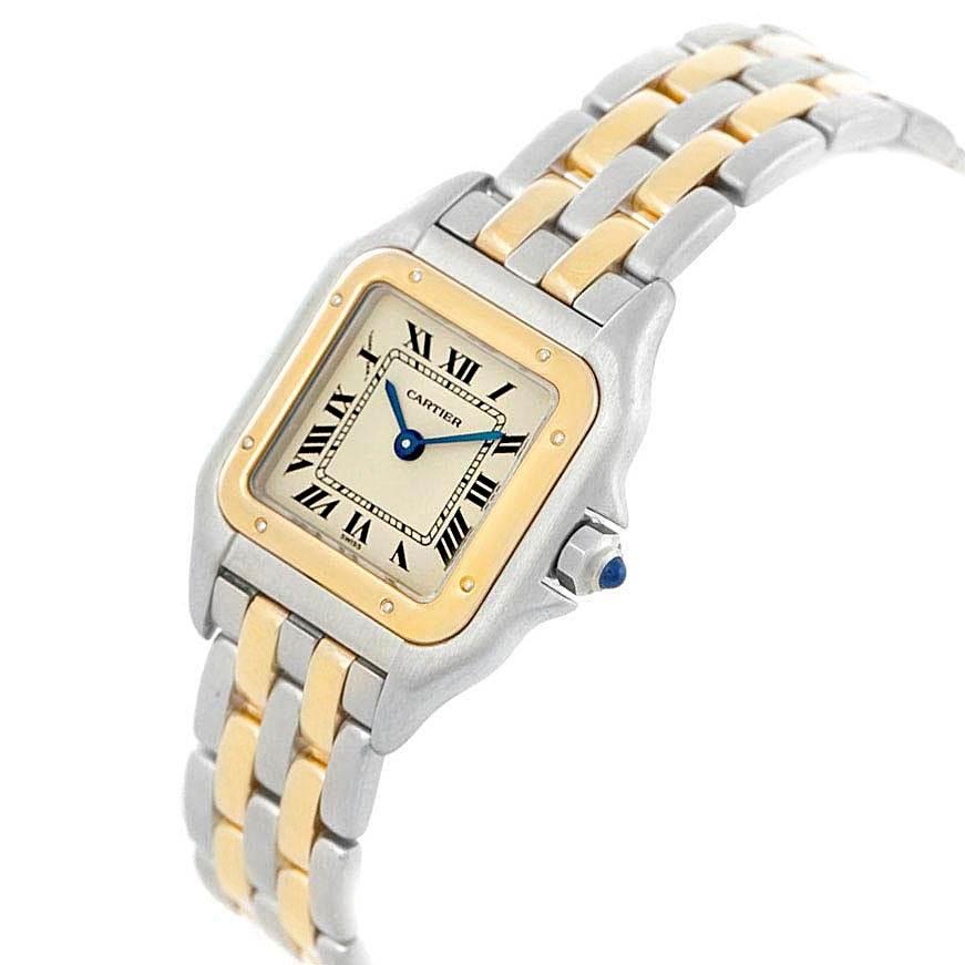 20819 Cartier Panthere Steel Yellow Gold 2 Row Ladies Watch W25029B6 Box SwissWatchExpo