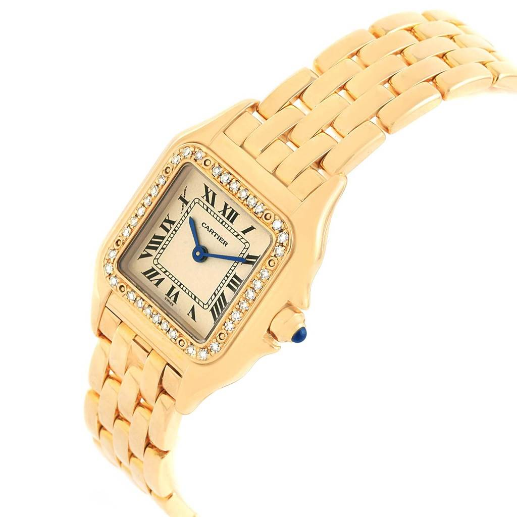 21071 Cartier Panthere Ladies 18k Yellow Gold Diamond Watch WF3070B9 SwissWatchExpo