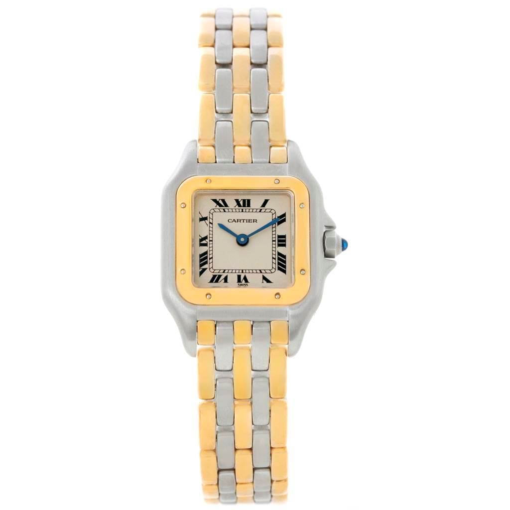 298d6612887 ... 21258 Cartier Panthere Ladies Steel 18K Yellow Gold 3 Row Watch  W25029B6 SwissWatchExpo ...
