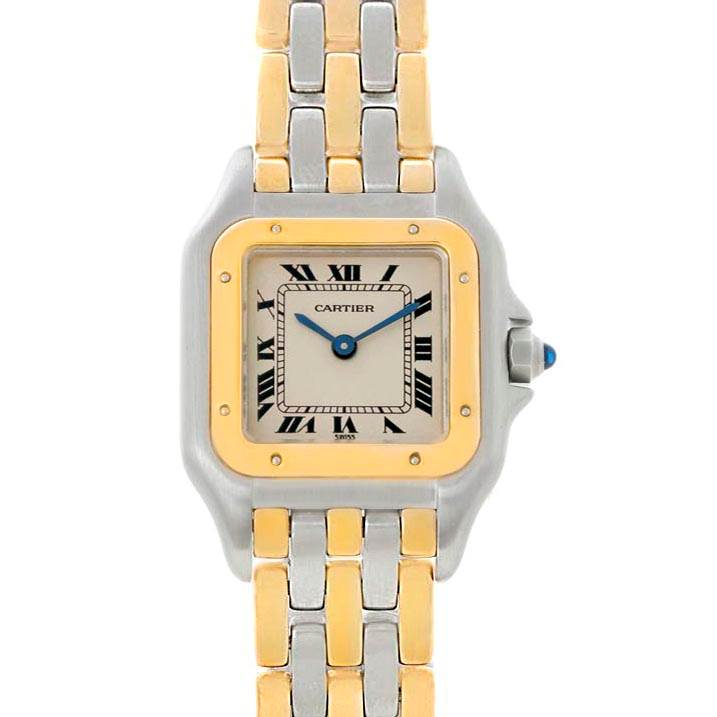 21258 Cartier Panthere Ladies Steel 18K Yellow Gold 3 Row Watch W25029B6 SwissWatchExpo