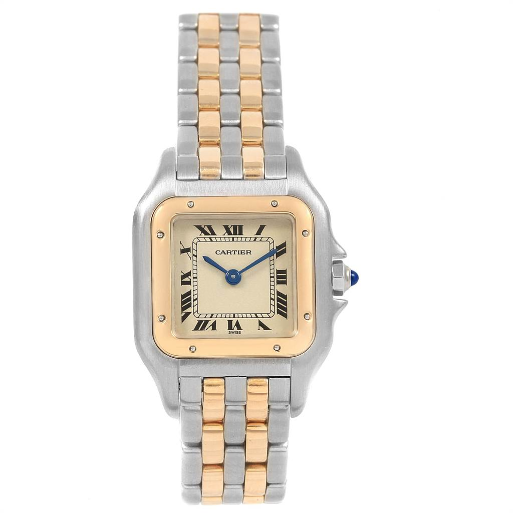 Cartier Panthere Steel Yellow Gold 2 Row Ladies Watch W25029B6 Box SwissWatchExpo