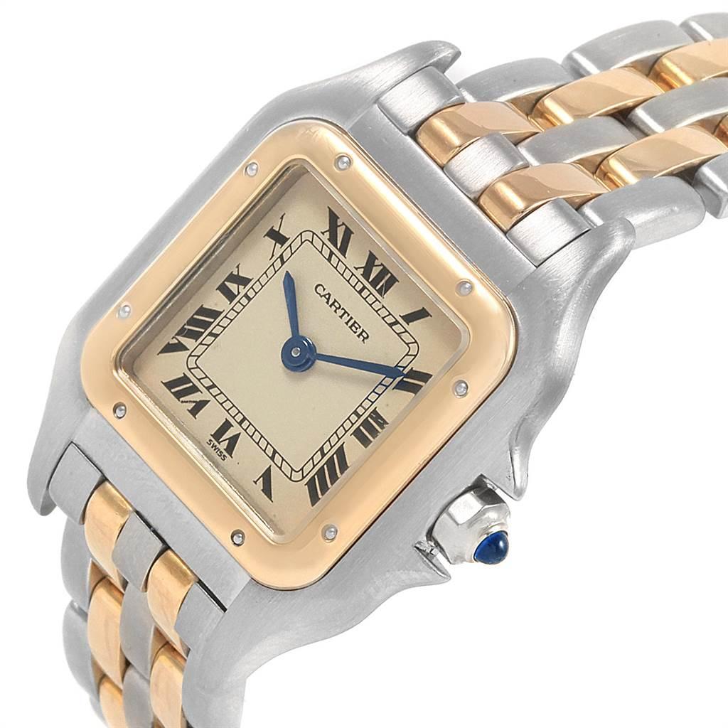 21144 Cartier Panthere Steel Yellow Gold 2 Row Ladies Watch W25029B6 Box SwissWatchExpo