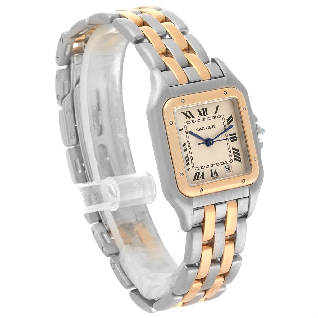 21940 Cartier Panthere Large Steel Yellow Gold Two Row Mens Watch W25028B8 SwissWatchExpo