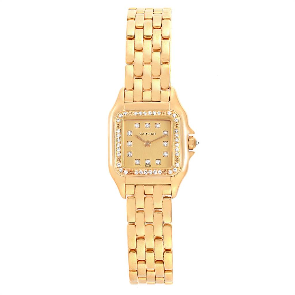 22303 Cartier Panthere Ladies 18k Yellow Gold Diamond Ladies Watch WF3070B9 SwissWatchExpo