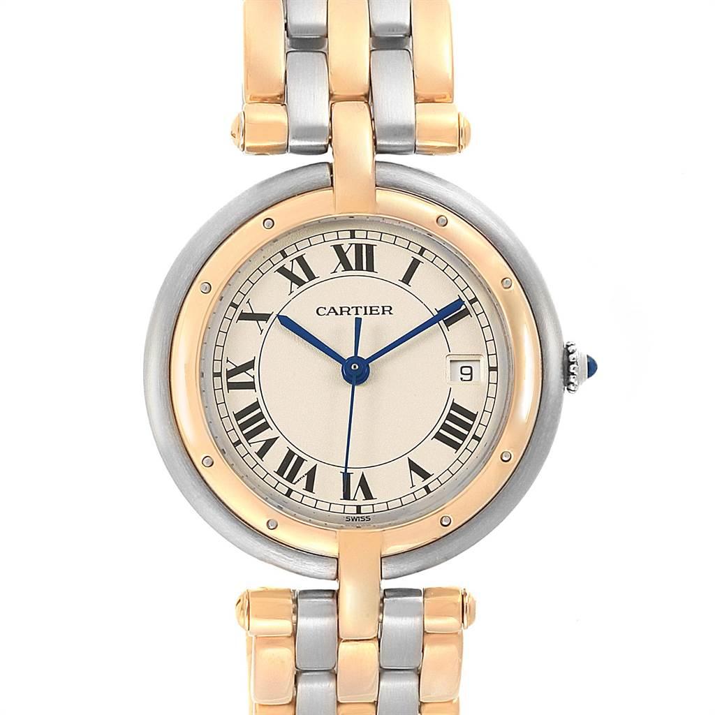 21949 Cartier Panthere Vendome Three Row Steel Yellow Gold Ladies Watch 183984 SwissWatchExpo
