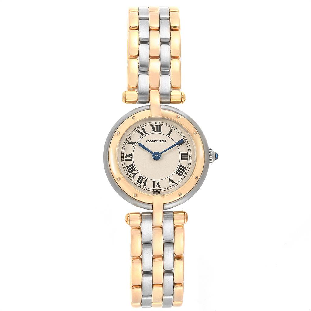 Cartier Panthere Vendome Three Row Steel Yellow Gold Ladies Watch 166920 SwissWatchExpo