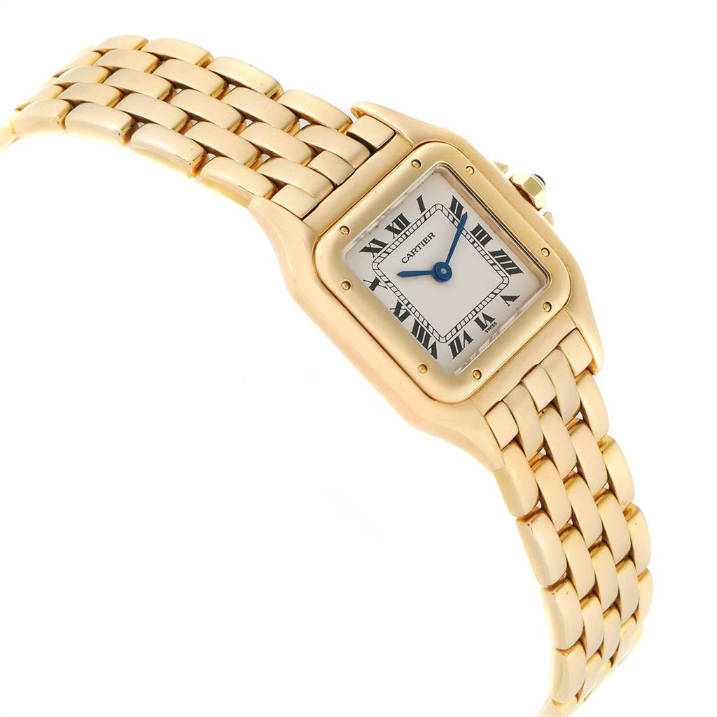 23417 Cartier Panthere Small Yellow Gold Silver Dial Ladies Watch W25022B9 SwissWatchExpo
