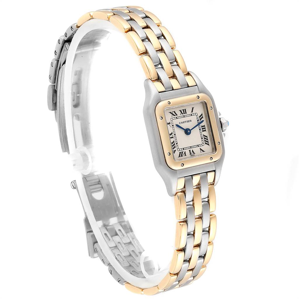 Cartier Panthere Ladies Steel Yellow Gold 3 Row Ladies Watch W25029B6 SwissWatchExpo
