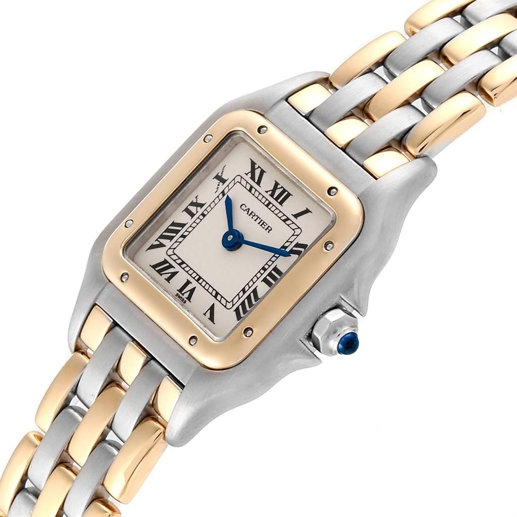 23405 Cartier Panthere Ladies Steel Yellow Gold 3 Row Ladies Watch W25029B6 SwissWatchExpo