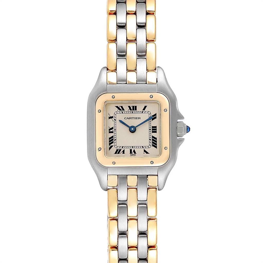 24472X Cartier Panthere Steel Yellow Gold 3 Row Quartz Ladies Watch W25029B6 SwissWatchExpo