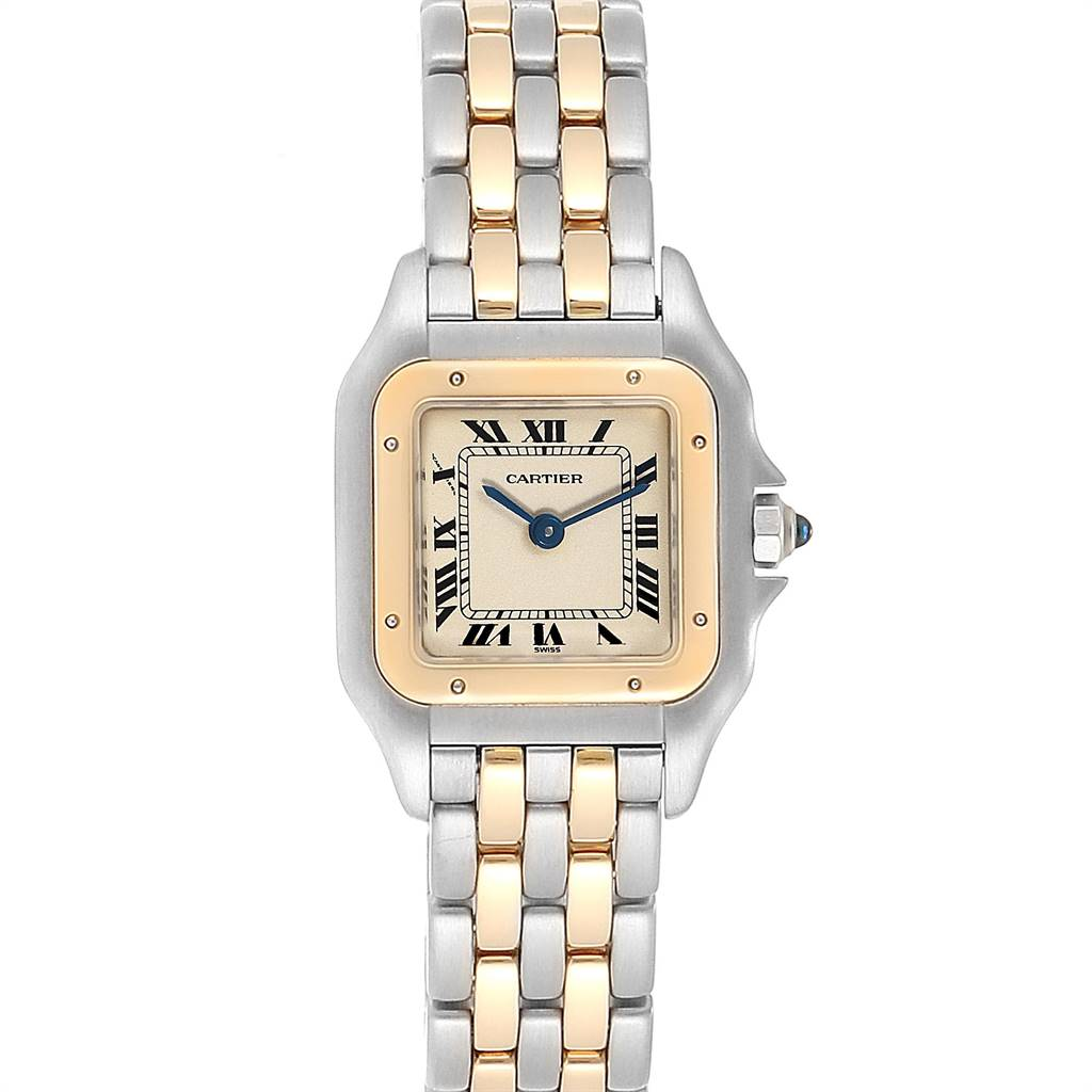 24172 Cartier Panthere Steel Yellow Gold 2 Row Small Ladies Watch W25029B6 SwissWatchExpo