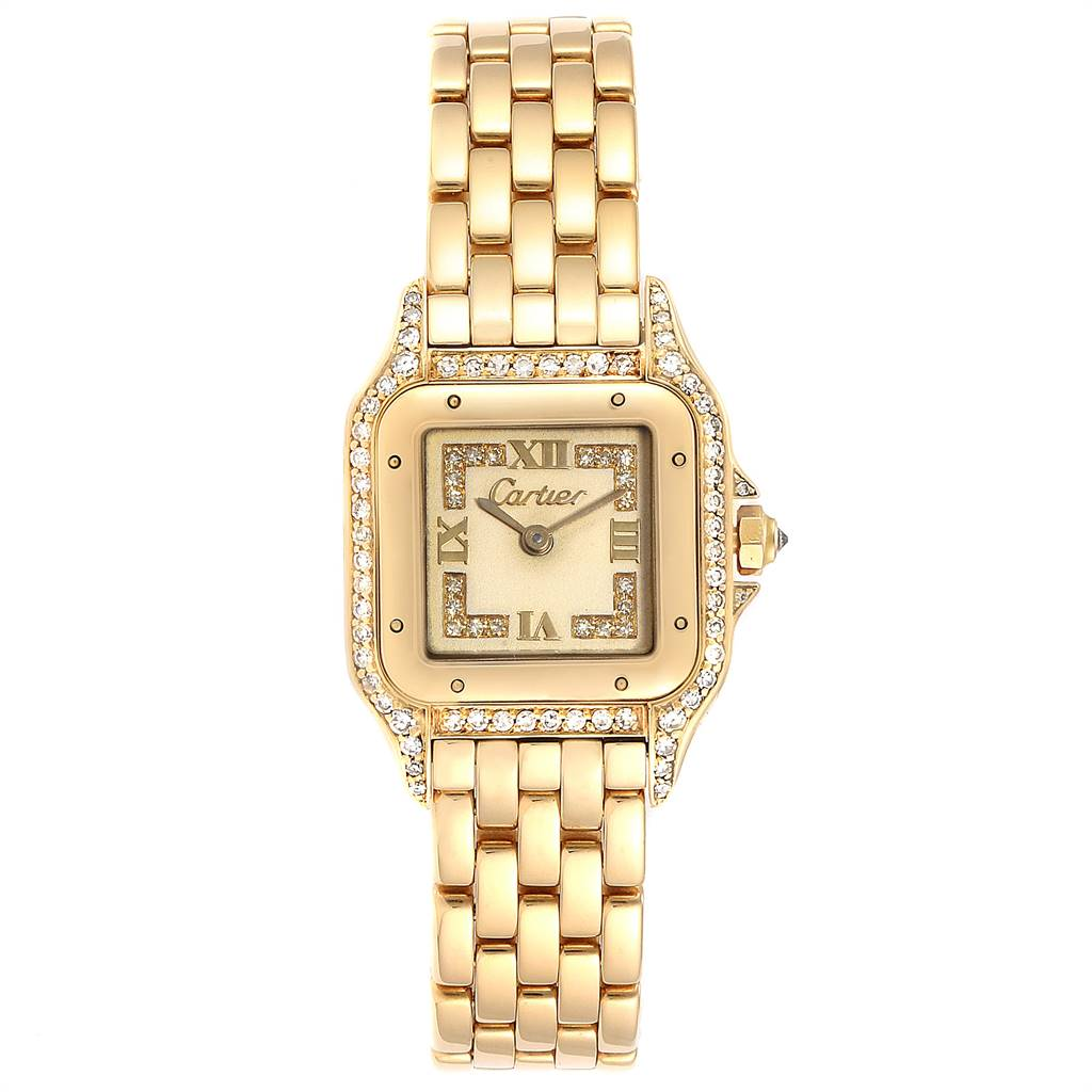Cartier Panthere 18k Yellow Gold Diamonds Ladies Watch WF3072B9