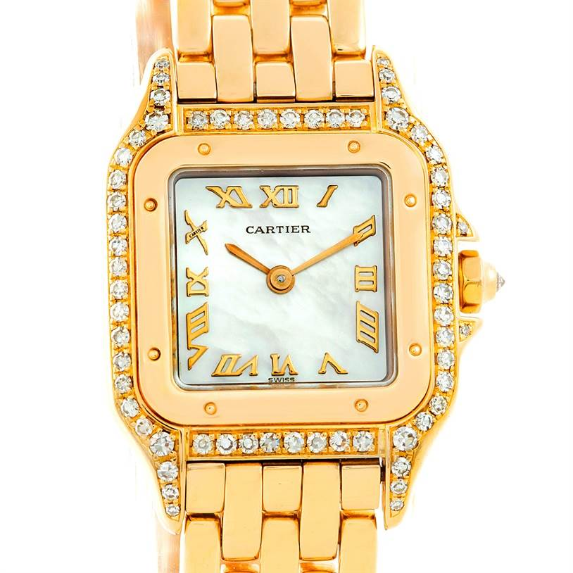 7058 Cartier Panthere Ladies 18k Yellow Gold Diamond Watch W25022B9 SwissWatchExpo
