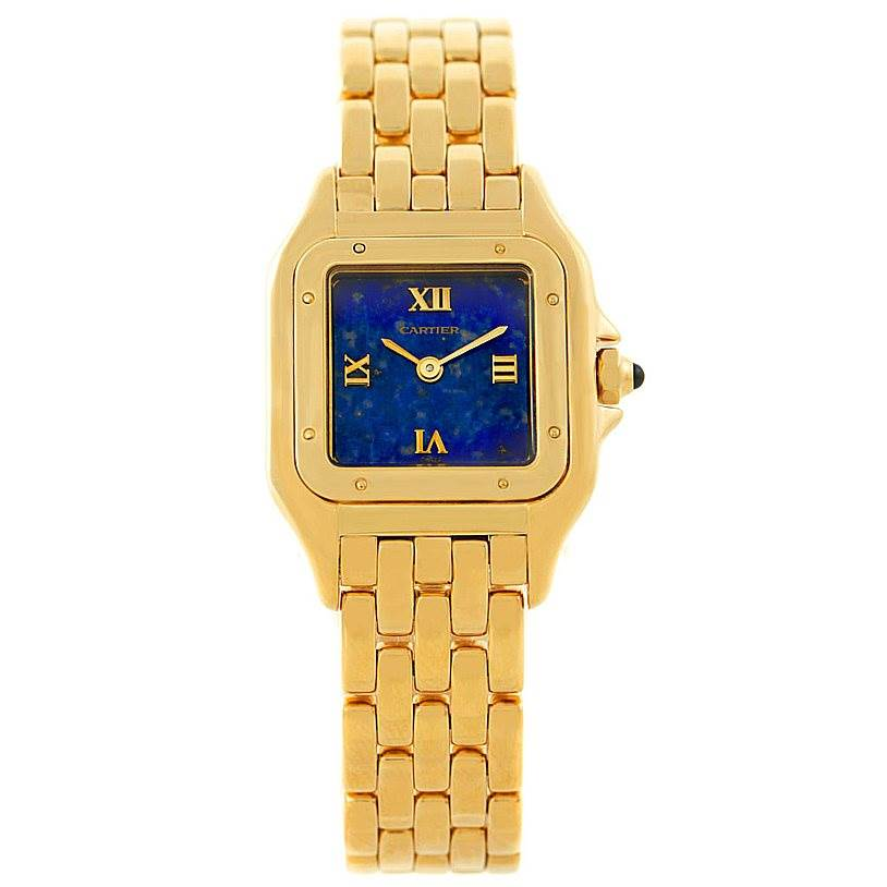 7407 Cartier Panthere Ladies 18k Yellow Gold Lapis Dial Watch W25022B9 SwissWatchExpo