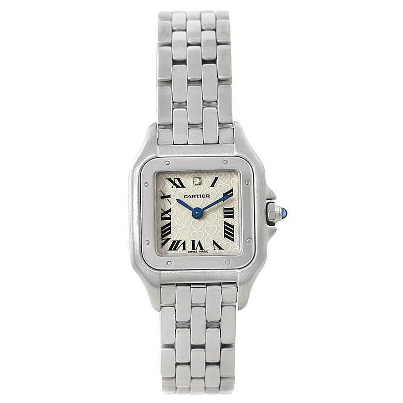 7618X Cartier Panthere Small Steel Diamond Heart Dial Watch W25033P5 SwissWatchExpo
