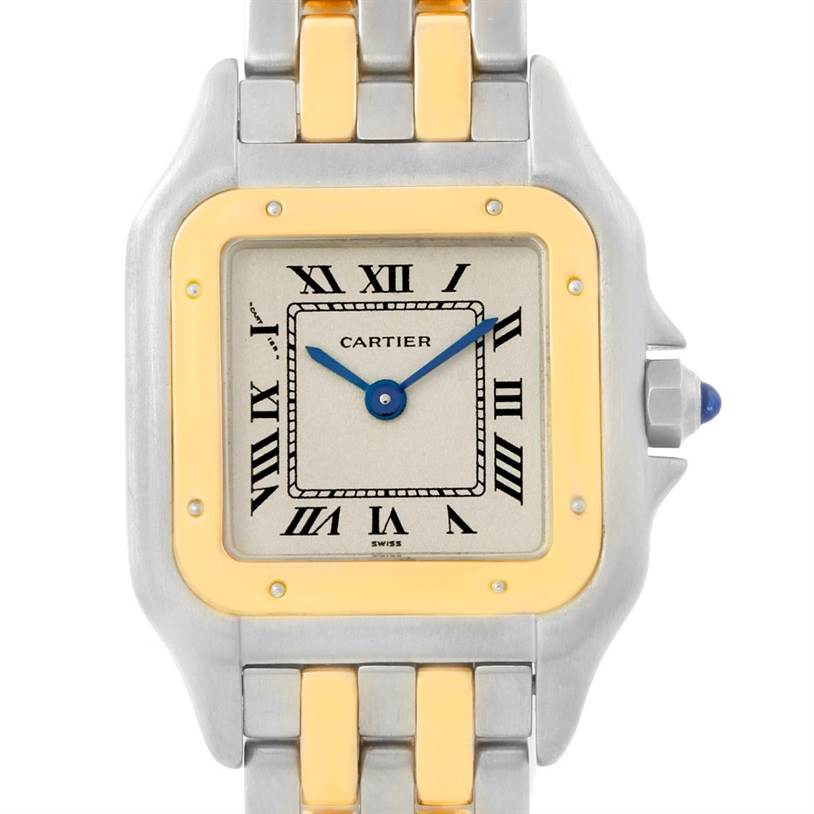 7619B Cartier Panthere Ladies Steel 18K Yellow Gold Watch W25029B6 SwissWatchExpo
