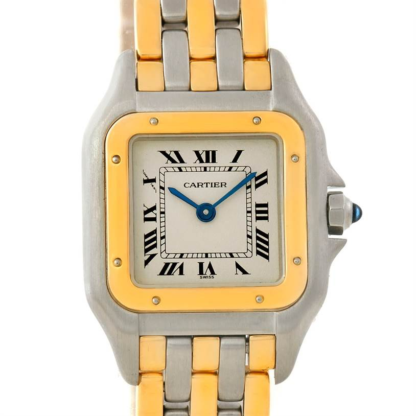 7660 Cartier Panthere Ladies Steel 18K Yellow Gold Watch W25029B6 SwissWatchExpo