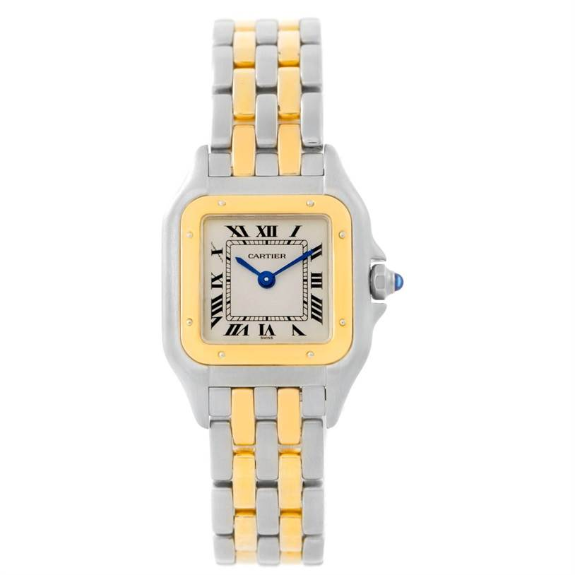 7681 Cartier Panthere Ladies Steel 18K Yellow Gold Two Row Watch W25029B6 SwissWatchExpo