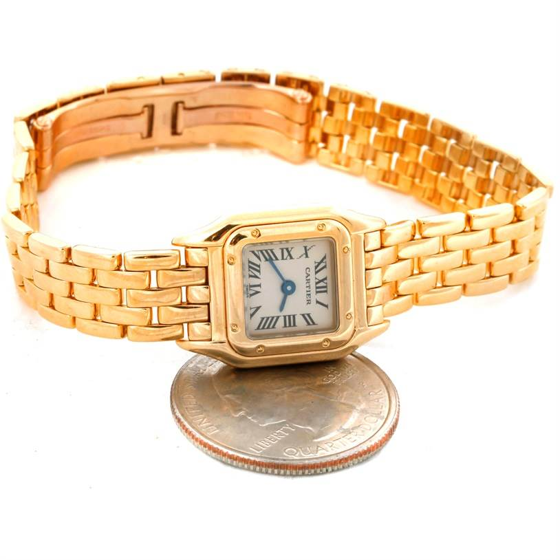 8932 Cartier Panthere Ladies 18k Yellow Gold Mini Watch W25034B9 SwissWatchExpo