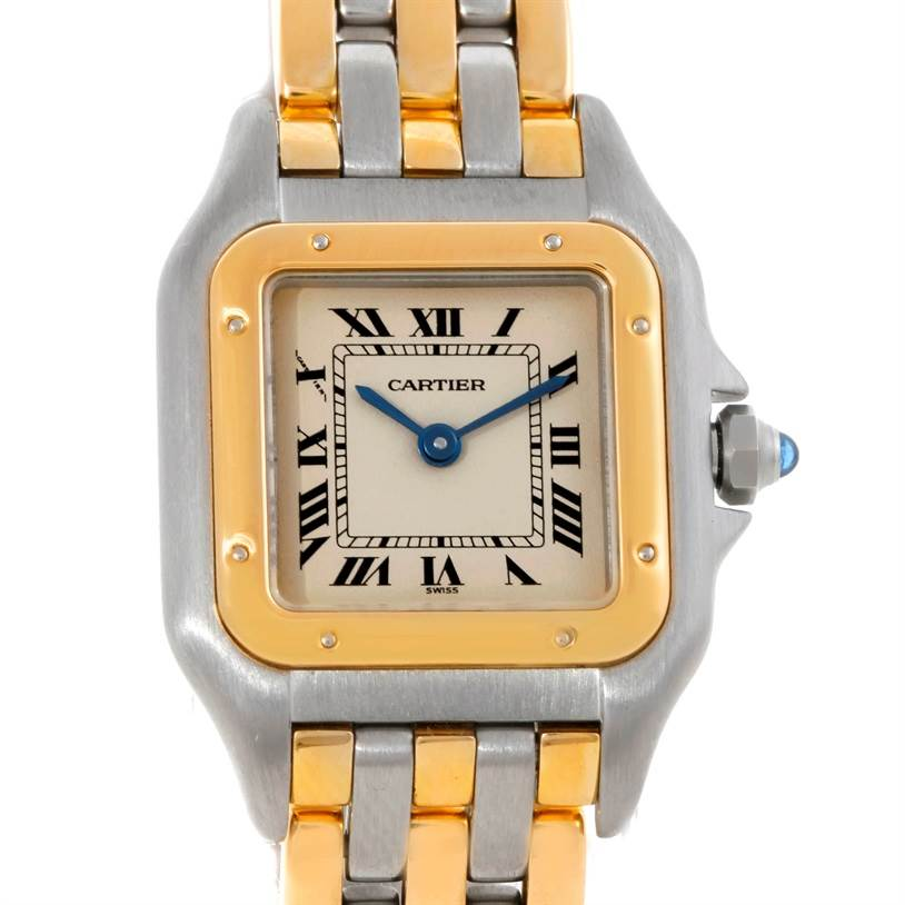 8777 Cartier Panthere Ladies Steel 18K Yellow Gold Watch W25029B6 SwissWatchExpo