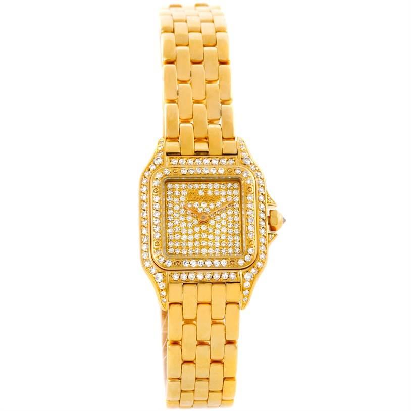 9413 Cartier Panthere Ladies 18k Yellow Gold Pave Diamond Watch SwissWatchExpo