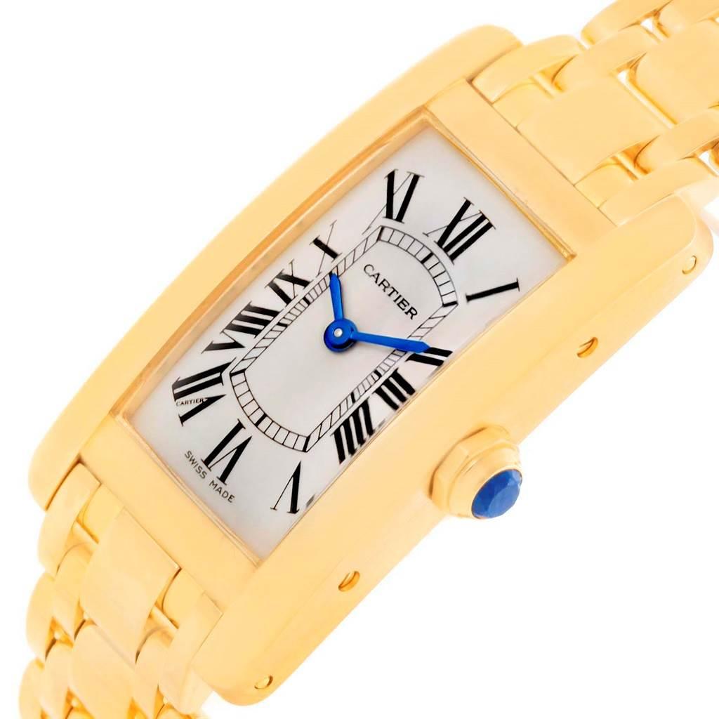 10435 Cartier Tank Americaine 18K Yellow Gold Ladies Watch W26015K2 SwissWatchExpo