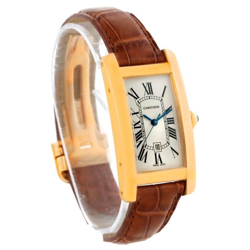 10408 Cartier Tank Americaine Midsize Yellow Gold Automatic Watch W2603556 SwissWatchExpo