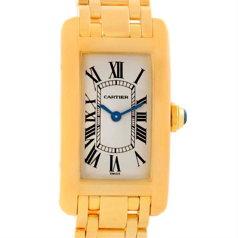 10448 Cartier Tank Americaine 18K Yellow Gold Womens Watch W26015K2 SwissWatchExpo