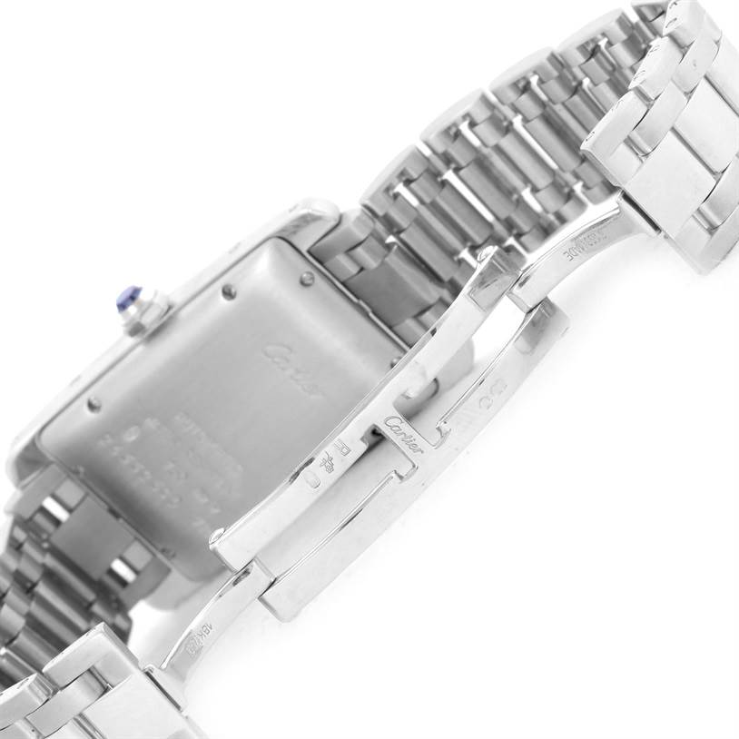 10385 Cartier Tank Americaine Midsize White Gold Automatic Watch W26036L1 SwissWatchExpo