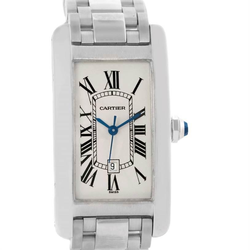 10385 Cartier Tank Americaine Midsize White Gold Automatic Watch W26036L1 SwissWatchExpo
