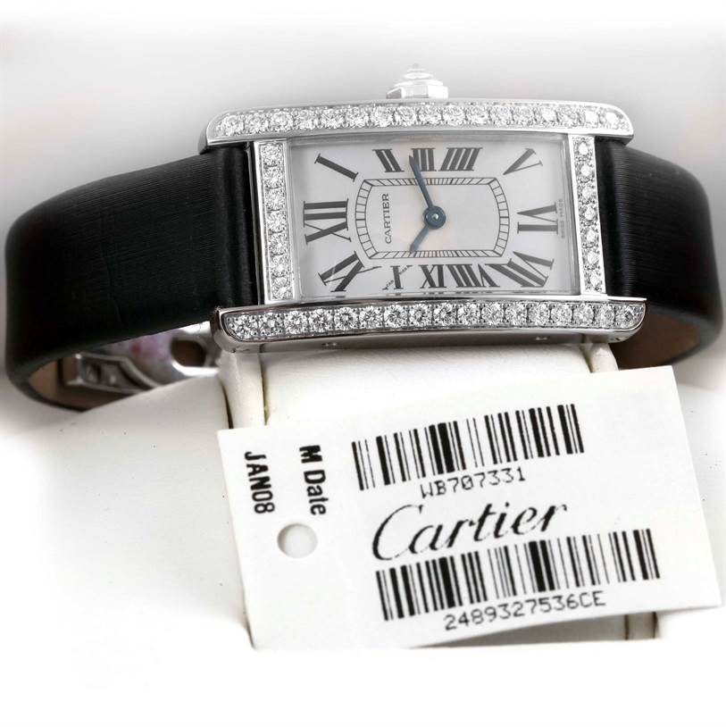 10754 Cartier Tank Americaine 18K White Gold Diamond Watch WB707331 SwissWatchExpo