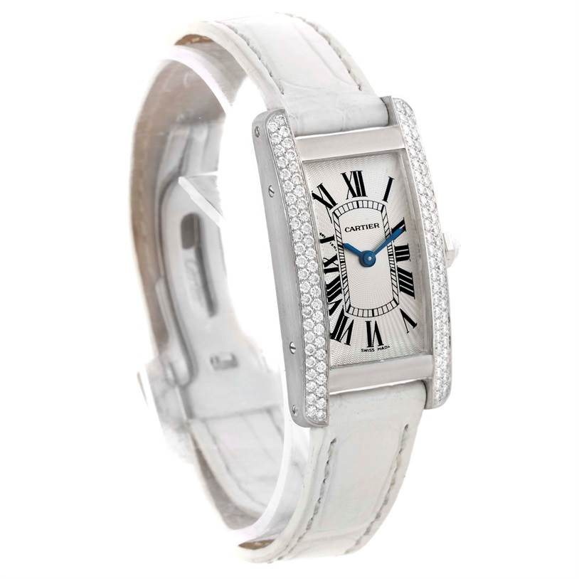 10854 Cartier Tank Americaine 18K White Gold Diamond Watch WB701851 SwissWatchExpo