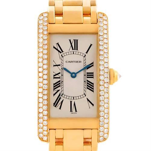 Photo of Cartier Tank Americaine Midsize 18K Yellow Gold Diamond Watch WB7015K2