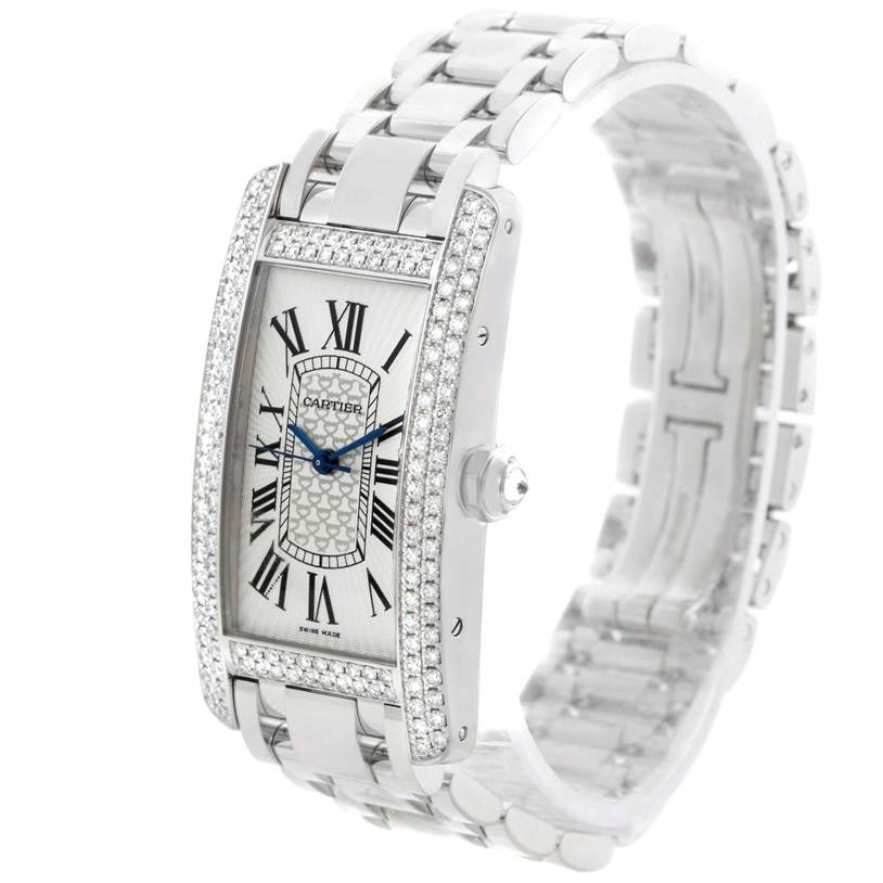 11400 Cartier Tank Americaine 18K White Gold Diamond Limited Watch WB710001 SwissWatchExpo