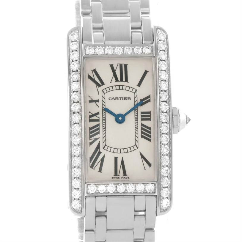 11442 Cartier Tank Americaine 18K White Gold Diamond Watch WB7073L1 SwissWatchExpo