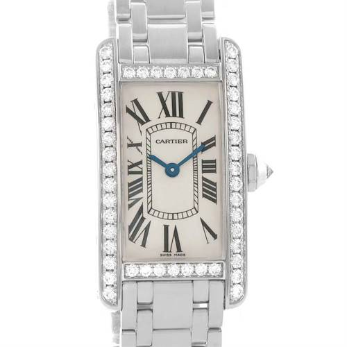 Photo of Cartier Tank Americaine 18K White Gold Diamond Watch WB7073L1