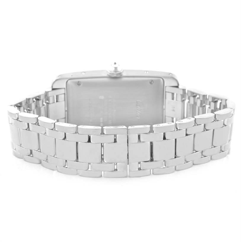 11443 Cartier Tank Americaine Midsize 18K White Gold Diamond Watch 2490 SwissWatchExpo