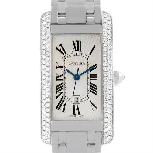 Photo of Cartier Tank Americaine Midsize 18K White Gold Diamond Watch 2490