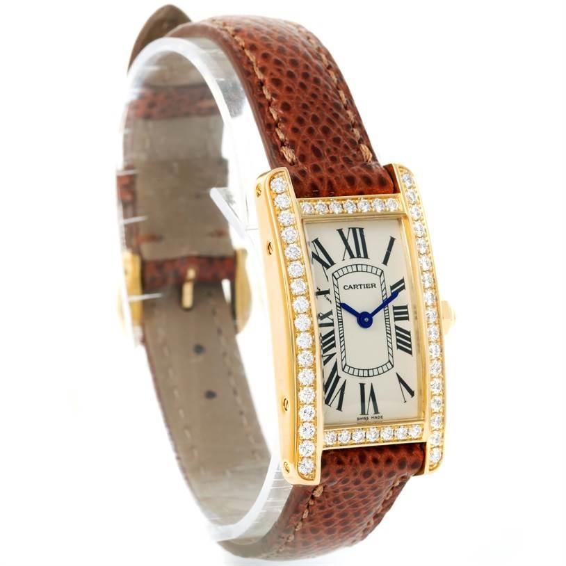 12038 Cartier Tank Americaine 18K Yellow Gold Diamond Watch WB707231 SwissWatchExpo