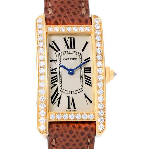 Photo of Cartier Tank Americaine 18K Yellow Gold Diamond Watch WB707231