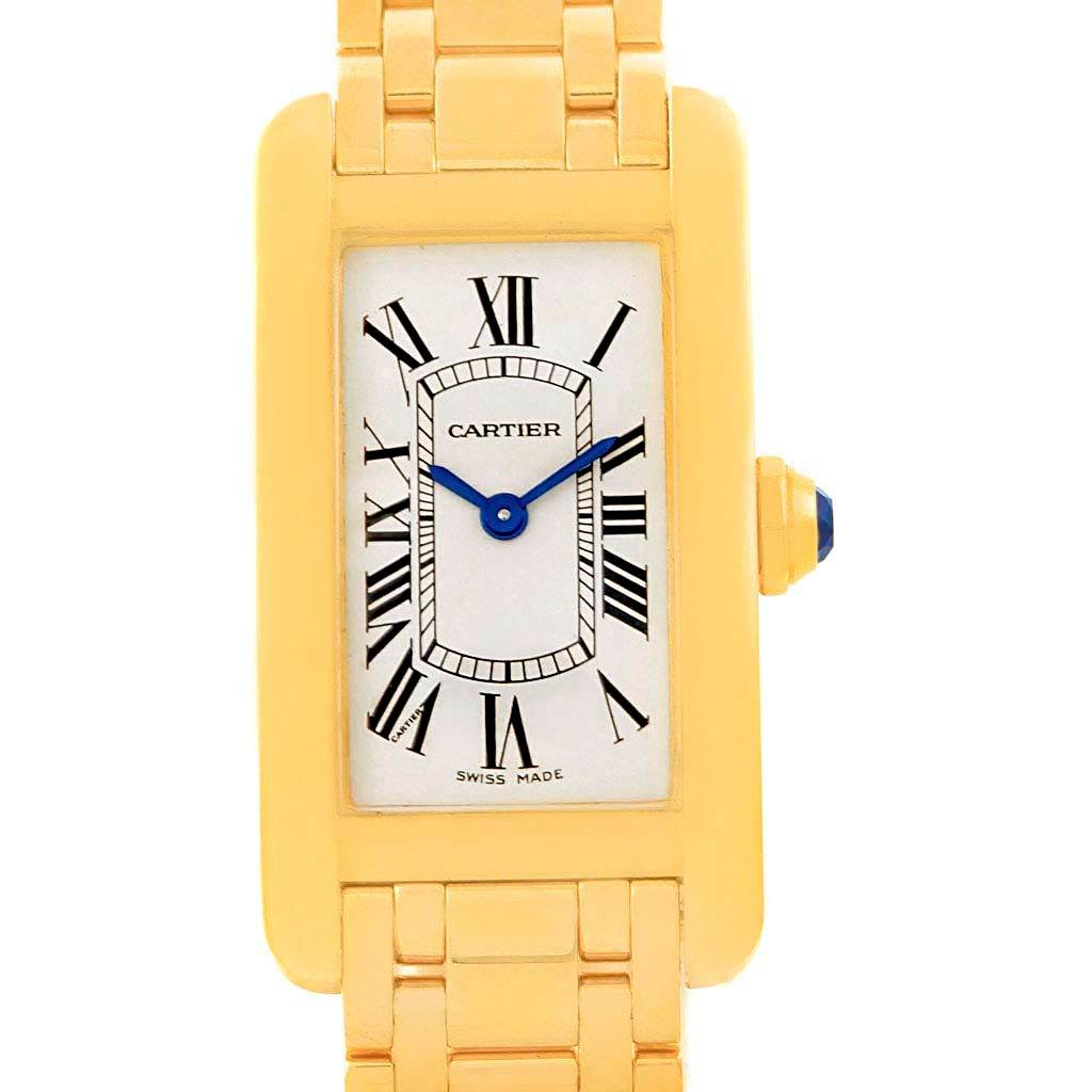 12780 Cartier Tank Americaine 18K Yellow Gold Women's Watch W26015K2 SwissWatchExpo